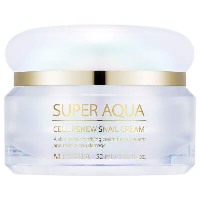 MISSHA Super Aqua Cell Renew Snail Cream moisturizer is designed to create a barrier for your skin