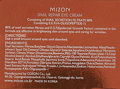 MIZON Snail Repair Eye Cream Ingredients