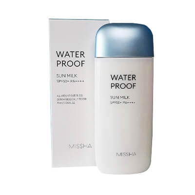 Missha All Around Safe Block Waterproof Sun Milk SPF50+PA+++ is an updated formula that is sweat, water and sebum proof