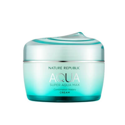 Nature Republic Super Aqua Max Fresh Watery Cream For Oily Skin refreshes and energizes the skin using a potent brew of deep sea minerals and marine plants