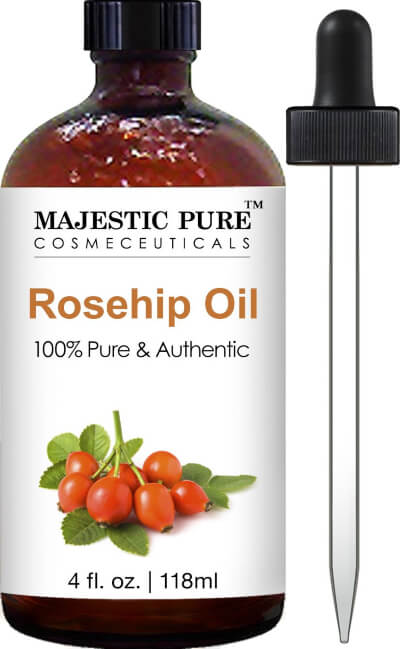 Majestic Pure Rosehip Oil for Face, Nails, Hair and Skin, Pure & Natural